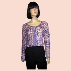 Variegated Purple Crocheted Cardigan from the 1960's-1970's Vintage