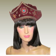 Early 20th Century, Hand-Made, Period Costume Hat in Burgundy Velvet and Silk