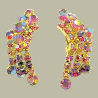 Large Pair of Pink Iridescent Dangle Clip-On Earrings