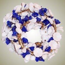 Hand-Made, White and Cobalt Blue, Pate de Verre Floret Bracelet