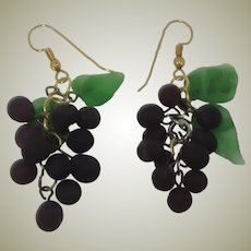 Pate de Verre Glass Grapes with Green Leaf Earrings