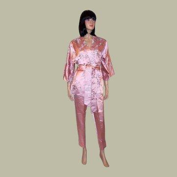 Luscious Pink Embroidered Silk Lounging Ensemble-Hong Kong British Crown Colony