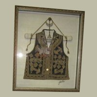 Antique, Museum Quality and Framed, Pakistani Embroidered Vest with Gold Embroidery and Jewel Adornments