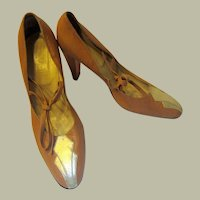 Rosy Brown Taupe and Silver Pumps with Ties in Art Deco Style (Made in Italy) Size 40