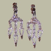 1960's Clear Rhinestone Dangle, Clip-On, Earrings