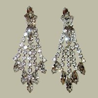 Brilliant Clear Rhinestone, Shoulder-Duster Clip-On Earrings