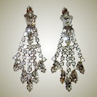 Brilliant Clear Rhinestone, Shoulder-Duster Clip-On Earrings