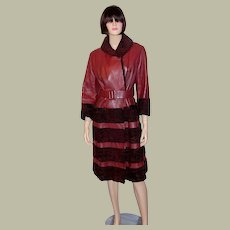 Chic Sienna-Colored Coat Trimmed in Broadtail