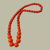 Impressive Vintage Opaque Red Poured and Cut Glass Beaded Necklace with Graduated Beads