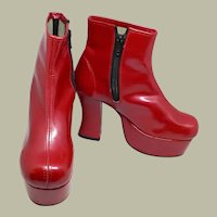 Cherry Red Patent Leather Platform Shoes by Underground Shoes-England (New Old Stock-Never Worn)
