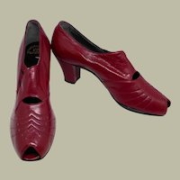 1930's Chic Ruby Red Peep Toe Pumps by Dickerson (New Old Stock-Never Worn)