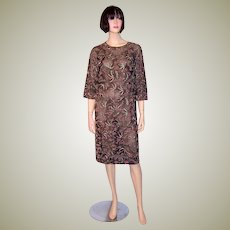 1960's Pink and Silver Beaded Dress on Black Net