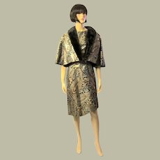 1960's Silver,Gold, and Black Brocaded Lame Ensemble with Black Mink Collar