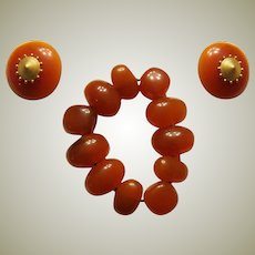 Deep Amber-Colored Stretch Bracelet with Matching Clip-On Earrings by Liz Claiborne