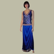 1960's Royal Blue Sequined and Beaded Sleeveless Top