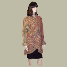 Luxurious Wrap-Around Sweater Coat in Autumnal Colors