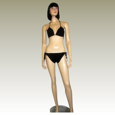 1960's Original Black Hand-Crocheted Bikini