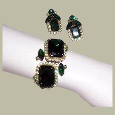 1960's Demi-Parure, Green Rhinestone Clamper Bracelet and Matching Earring Set