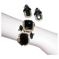 1960's Demi-Parure, Green Rhinestone Clamper Bracelet and Matching Earring Set