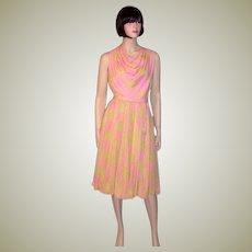 1960's Raspberry Sorbet and Pistachio Green Silk Chiffon Dress