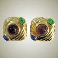 Square Gold-Toned Earrings with Multi-Colored Cabochons