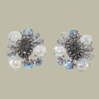 SCHIAPARELLI Faux Moonstone and Rhinestone Earrings