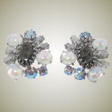 SCHIAPARELLI Faux Moonstone and Rhinestone Earrings