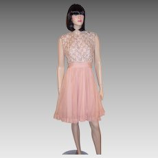 Flirty Pink Chiffon 1960's Cocktail Dress with Beaded Bodice