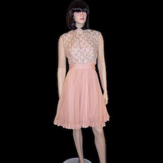 Flirty Pink Chiffon 1960's Cocktail Dress with Beaded Bodice