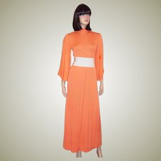 1970's Double-Knit Melon-Colored, Maxi Dress with Full Bell Sleeves