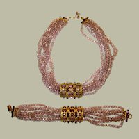 """Sandor"" Demi-Parure-Amethyst Crystal Necklace  and Matching Bracelet"