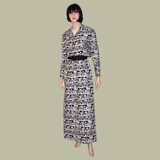 1960's Bold and Graphic Evening Gown with Matching Jacket