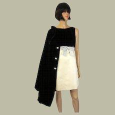 Stunningly Beautiful Sleeveless Dress and Brown Velvet Coat Ensemble