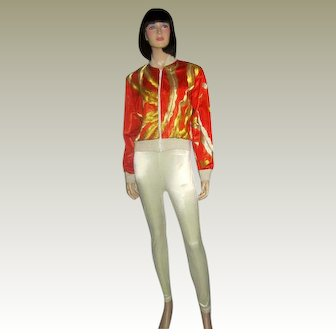 """Sachi New York""-Orange and Gold  Embroidered Jacket"
