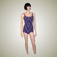 "1960's Purple, Magenta, and Green Geometric Swimsuit by ""Gottex"""