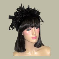 1960's Black Velvet Hat with Silk Florets & Bows Made for Lord and Taylor