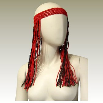 1960's-1970's Red and Black Glass Beaded Bohemian Headband