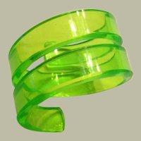 1970's Vintage Neon Green Lucite Double-Coil Bracelet