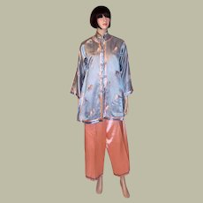 Chinese-Salmon Pink and Blue Three-Piece Silk Lounging Ensemble