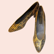 Sesto Meucci of Florence, Italy, Gold and Bronze Evening Pumps with a Gold Window Pane Design, Size 9