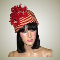 "Stunning ""Cleo Sims, New York""-Red and White Striped, Sculptural Straw Hat with Red Florets"