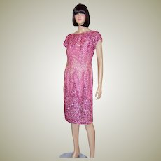 1960's Orchid Beaded and Sequined Dress with Ombre Treatment