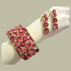 1960's Over-Sized Shocking Pink Rhinestone Cuff Bracelet and Earring Set