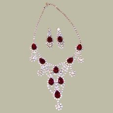 1960's Partial Parure Including Bib Necklace and Earrings