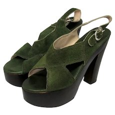 1970's Authentic Green Suede and Wooden Platform Shoes