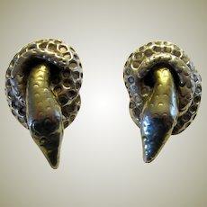 Hand-Made, Sterling, Hallmarked Snake Earrings