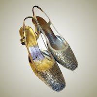 "#Coquettes for the Young at Heart""-Silver Glittered Open Heeled Pumps, 1960's Vintage"