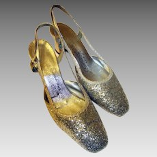 """#Coquettes for the Young at Heart""""-Silver Glittered Open Heeled Pumps, 1960's Vintage"""