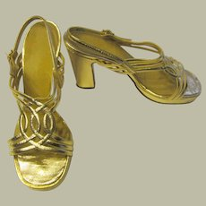 "1970's Gold Strappy and Chunky Sandals/Pumps, 4"" Heels, Size 6.5 M"