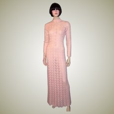 1960's Original Crocheted, Pale Pink, Floor Length Gown